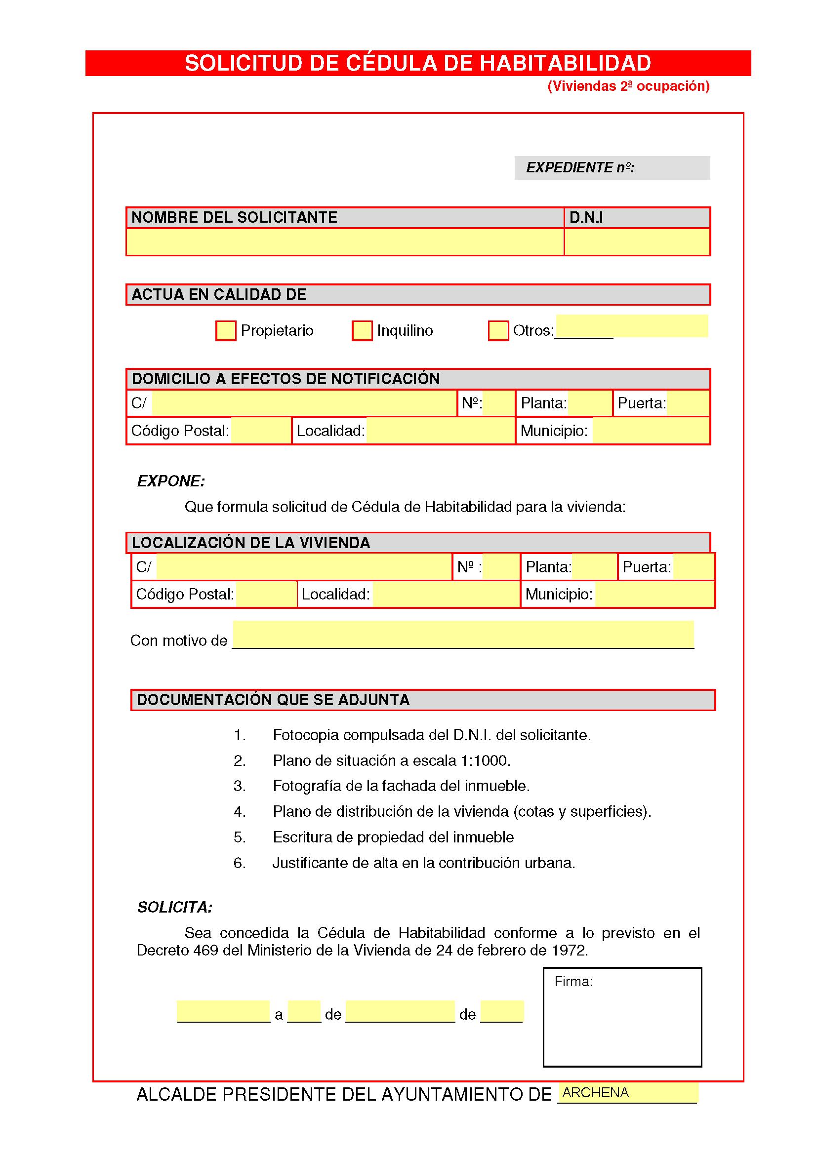 Impreso Declaración Responsable Segunda Ocupacion Archena 1