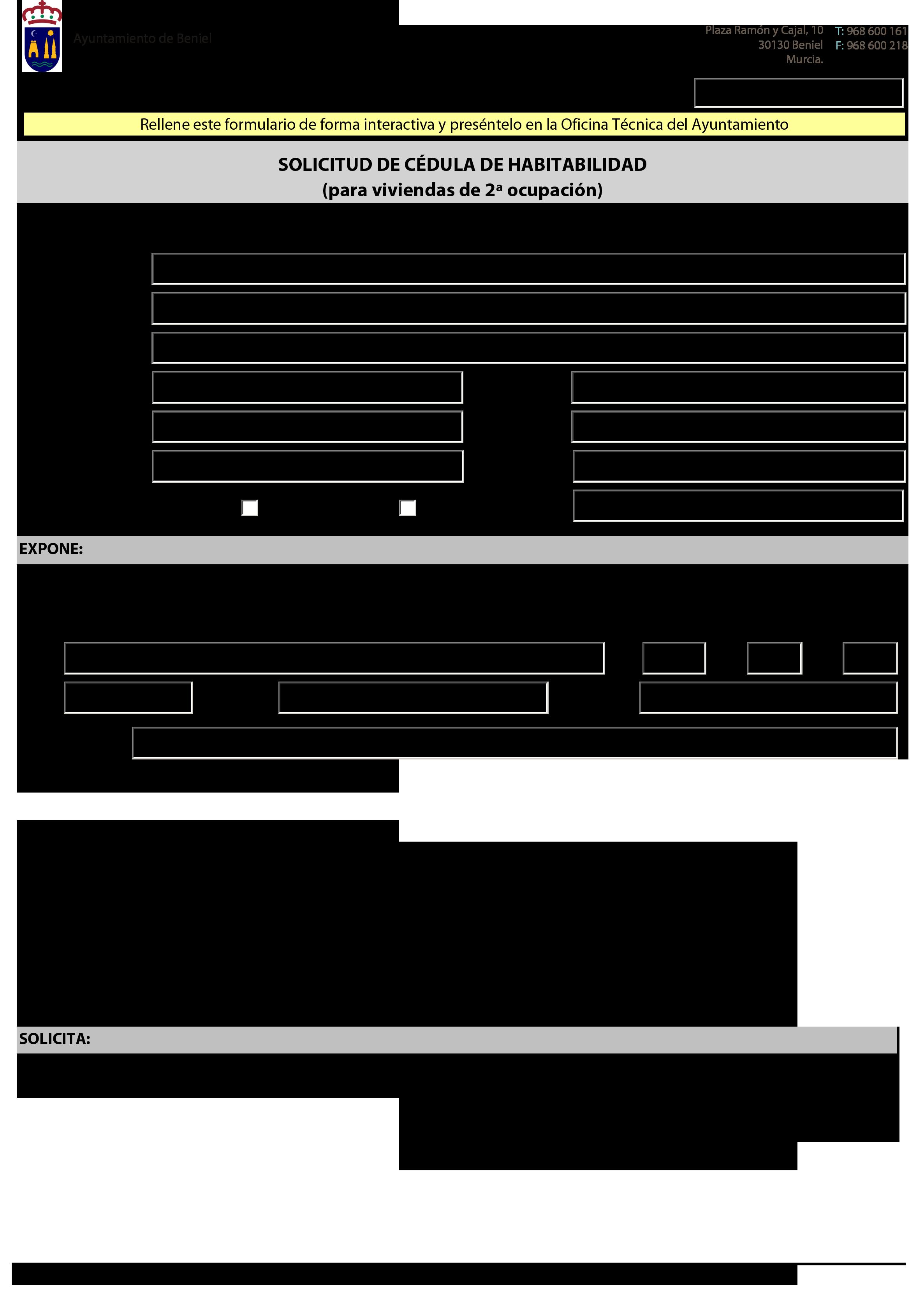 Impreso Declaración Responsable Segunda Ocupacion Beniel