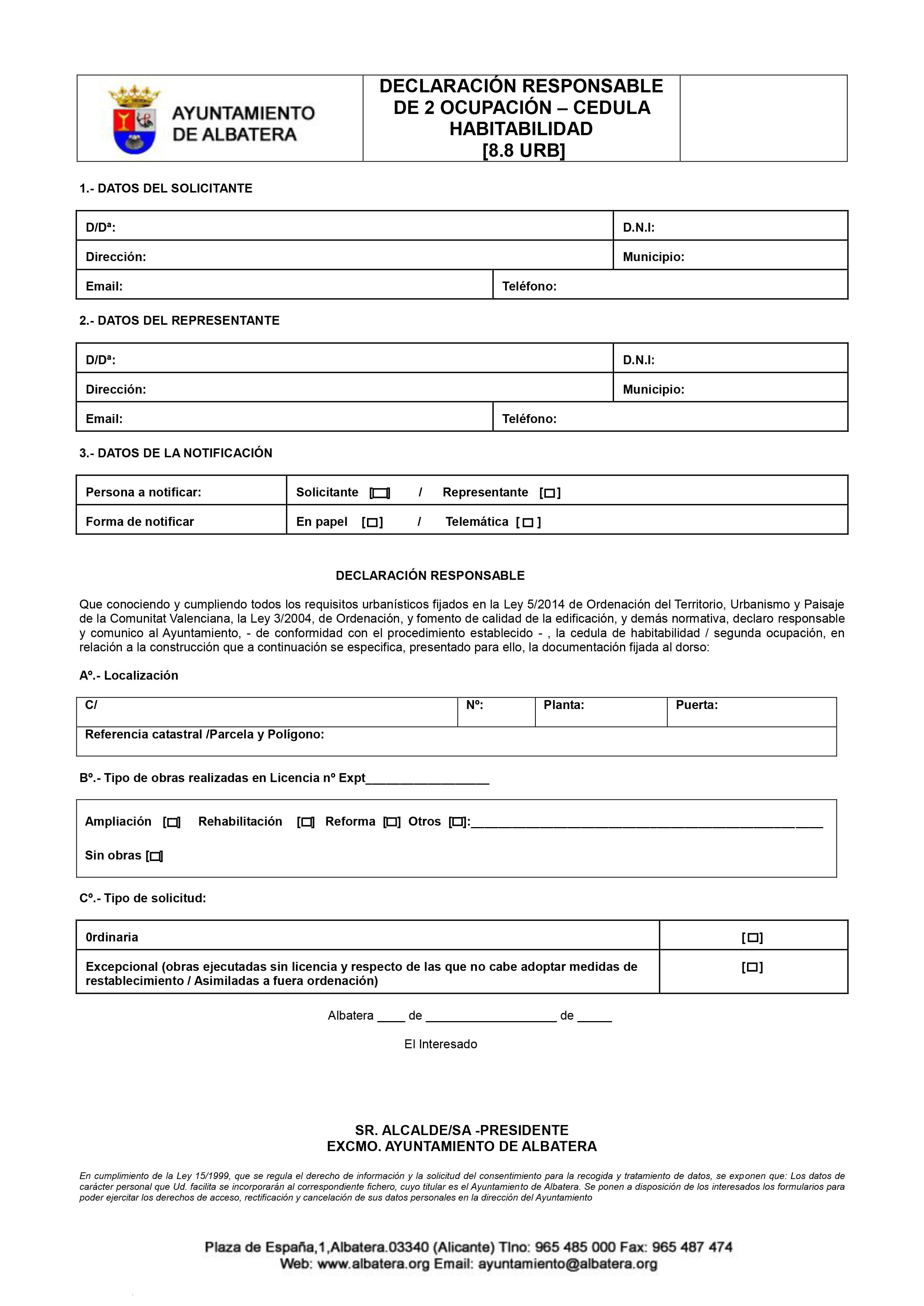 Impreso Declaración Responsable Segunda Ocupación Albatera