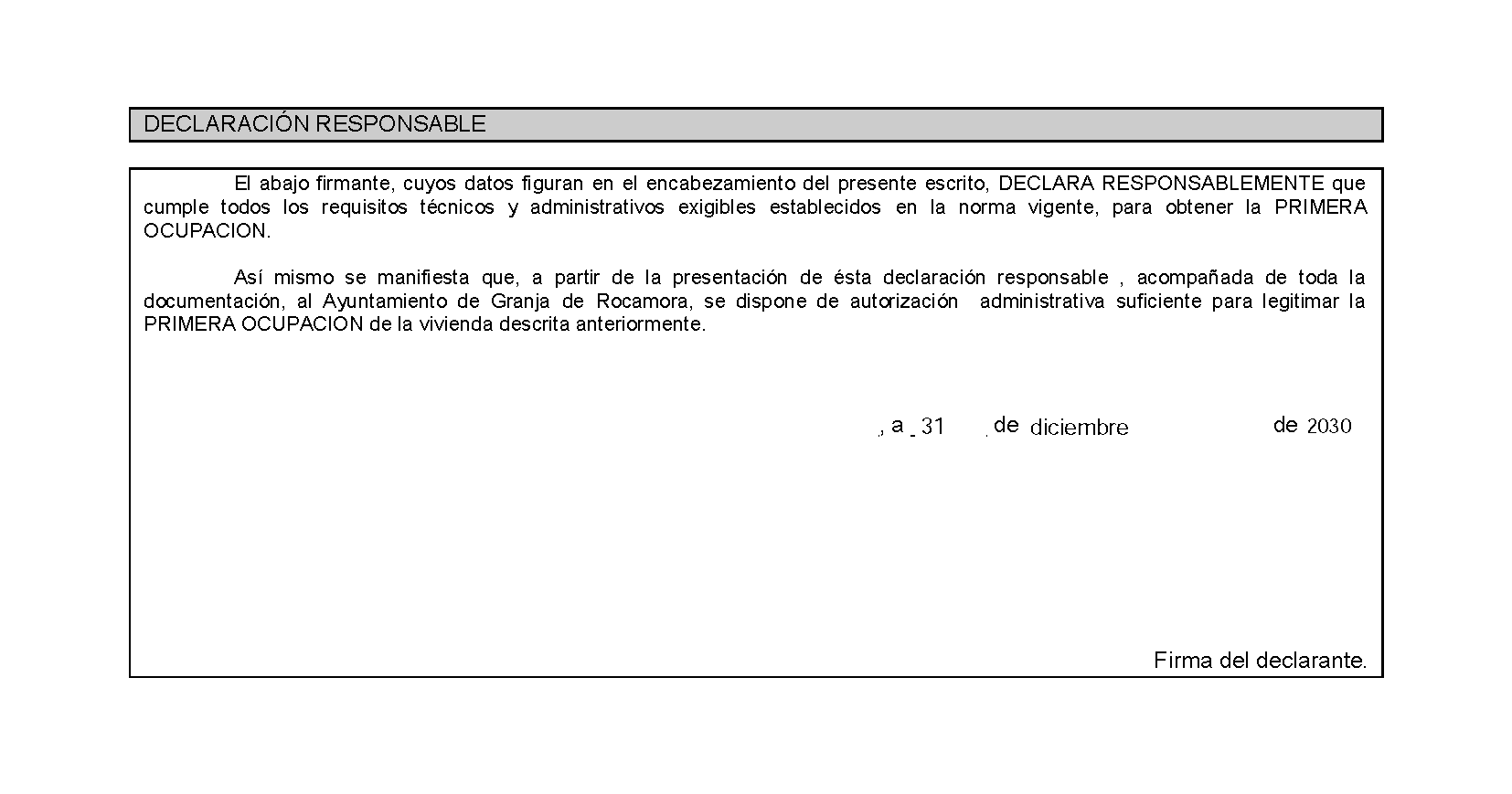 Impreso Declaración Responsable Segunda Ocupación San Isidro