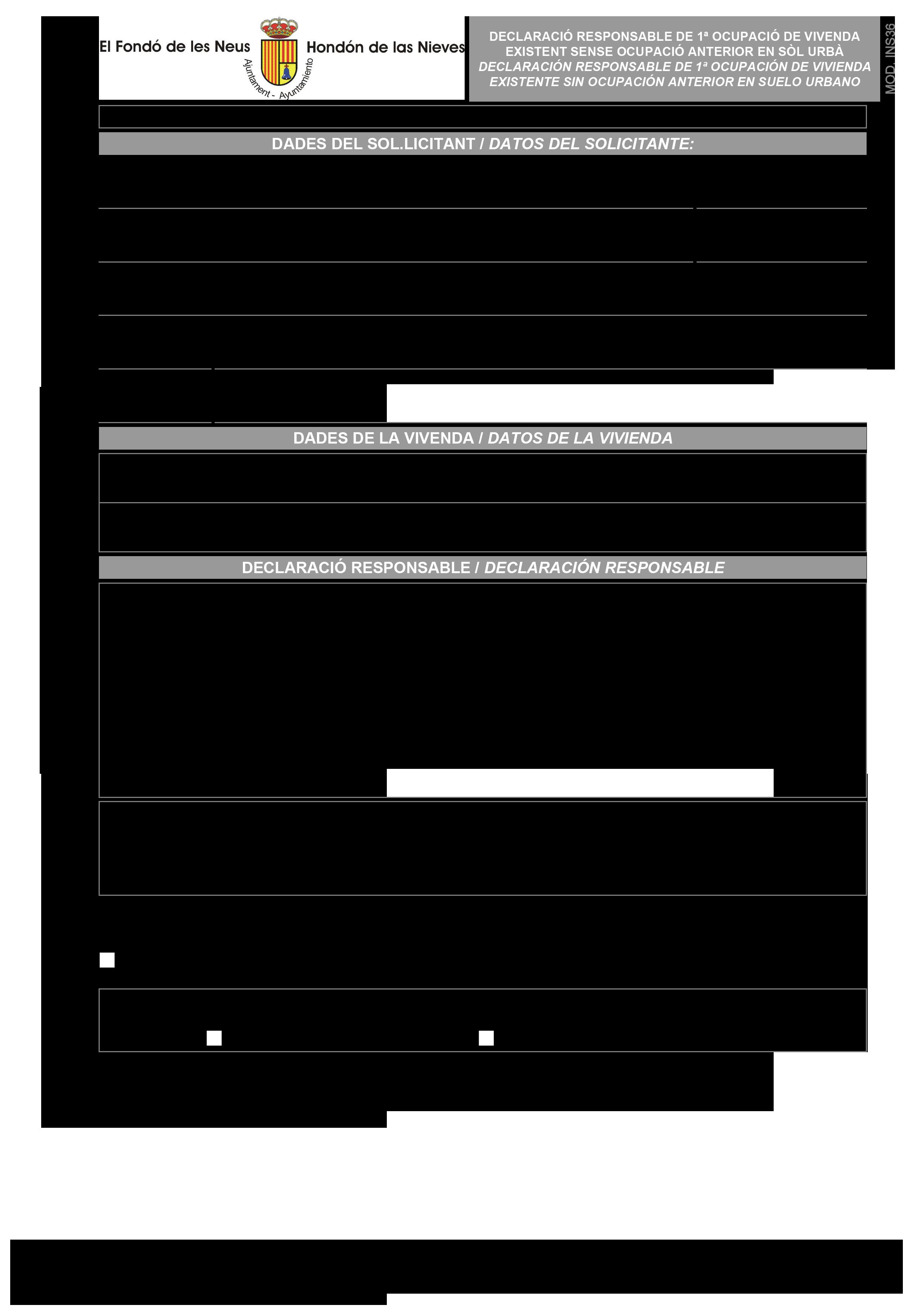 Impreso Declaración Responsable Segunda Ocupación Hondón de las Nieves - sin licencia anterior