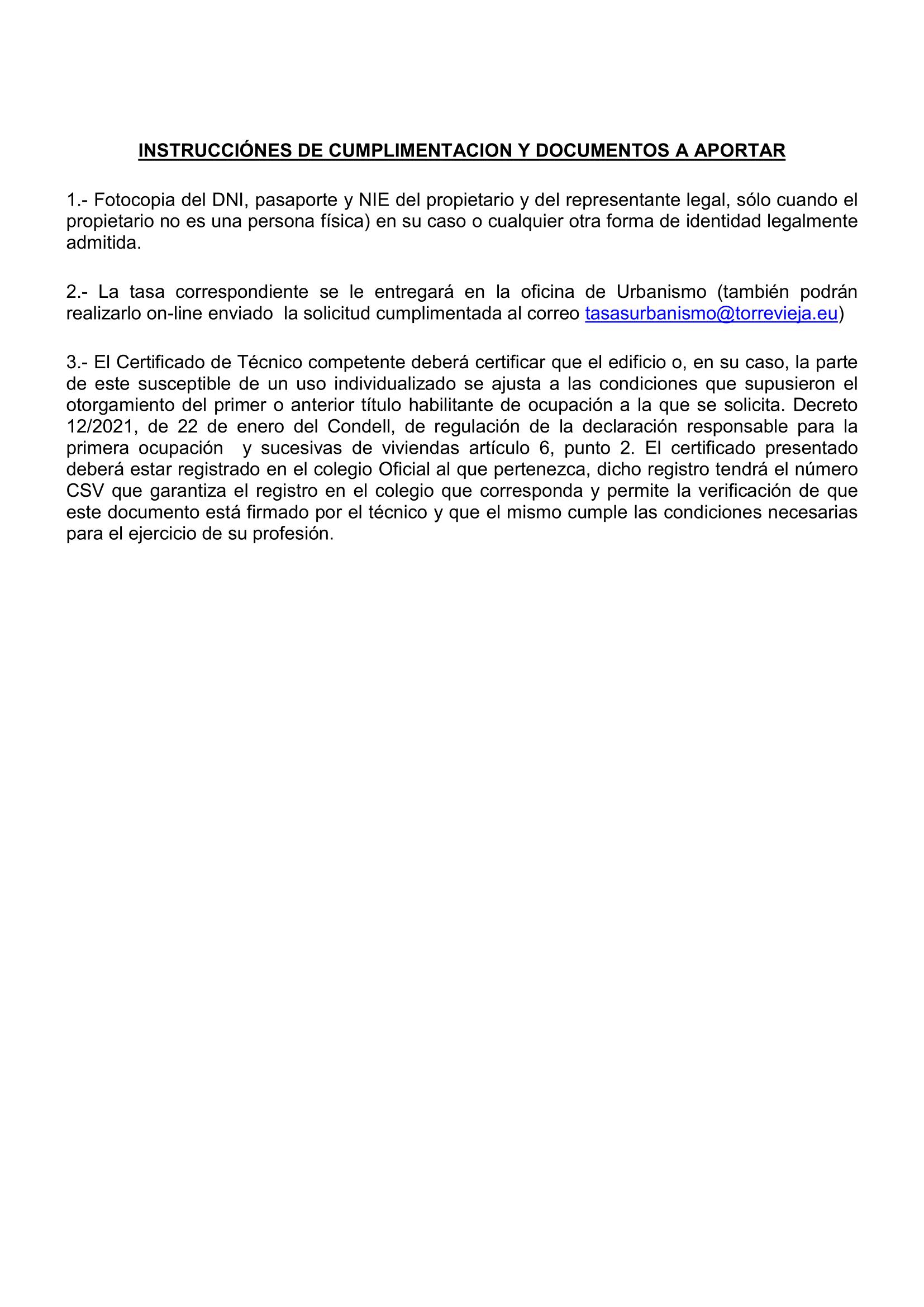 Cédula de Habitabilidad - Segunda Ocupación Torrevieja