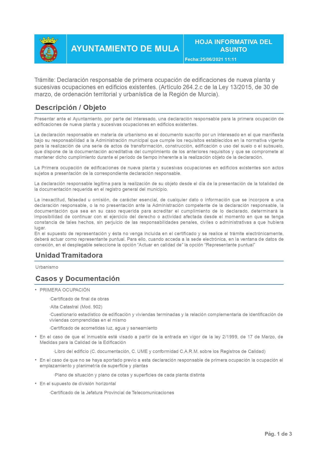 Declaración Responsable Segunda Ocupación Mula - Cédula de Habitabilidad en Mula