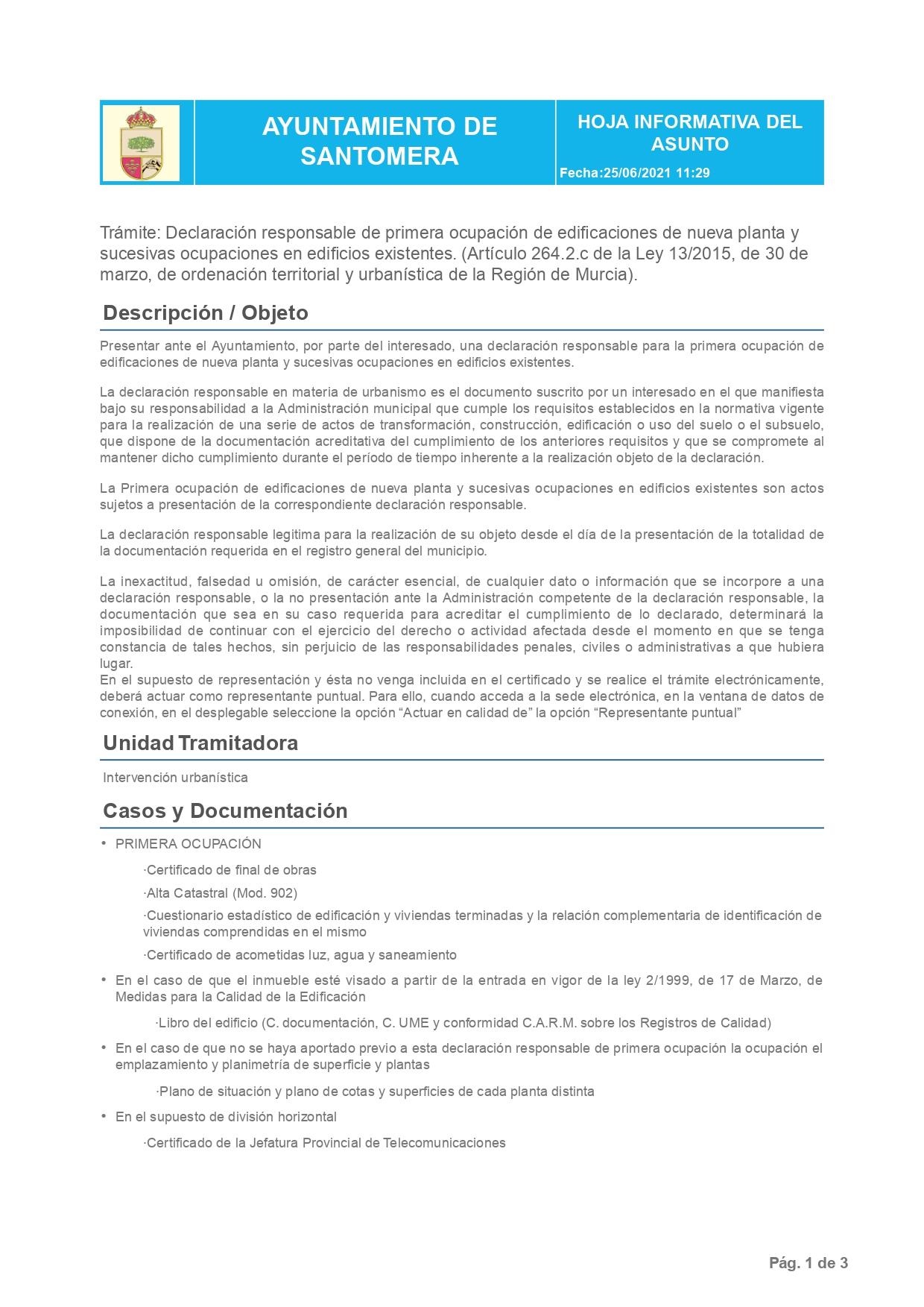 Declaración Responsable Segunda Ocupación Santomera - Cédula de Habitabilidad - Santomera