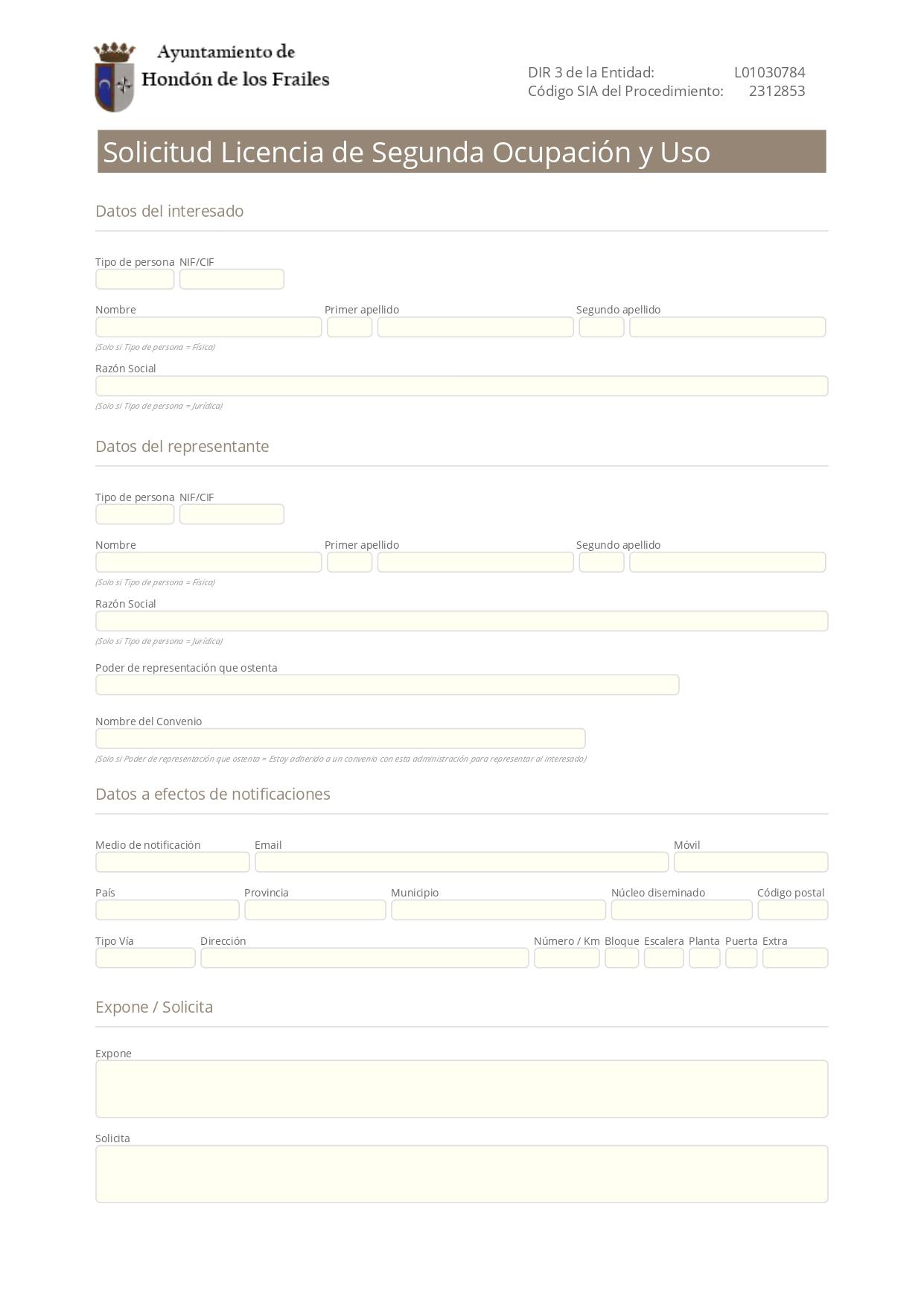 Licencia Segunda Ocupación Hondón de los Frailes