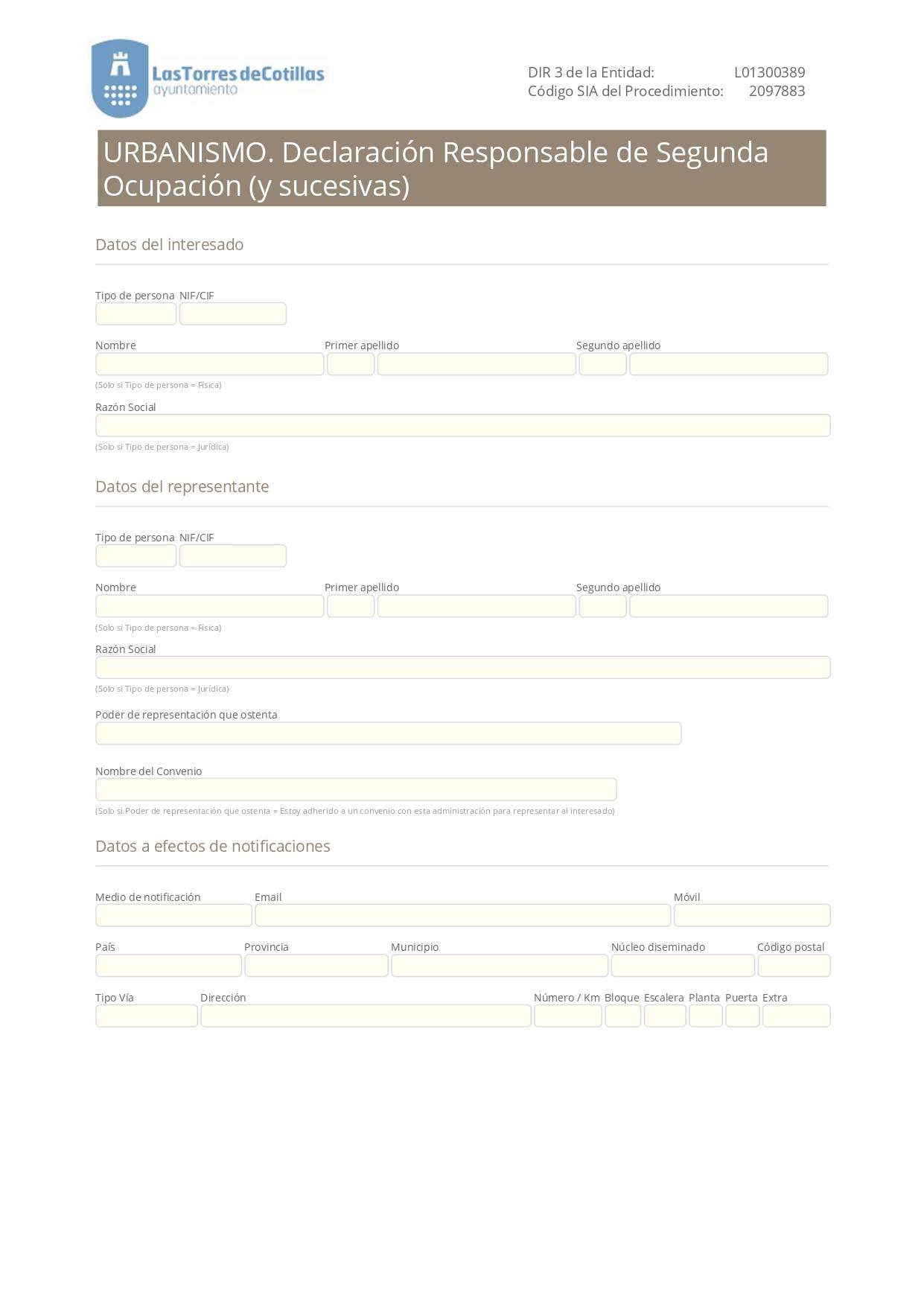 Declaración Responsable Segunda Ocupación o Cédula de Habitabilidad en Torres de Cotillas