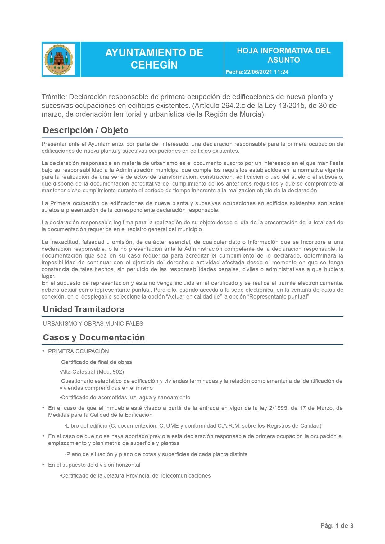 Declaración Responsable Segunda Ocupación Cehegín