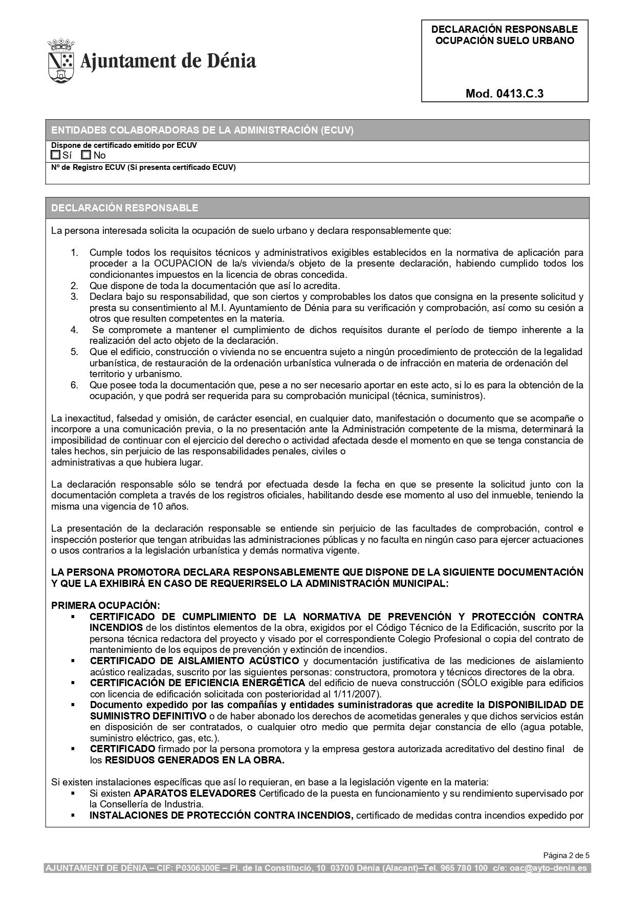 Declaración Responsable Segunda Ocupación Denia