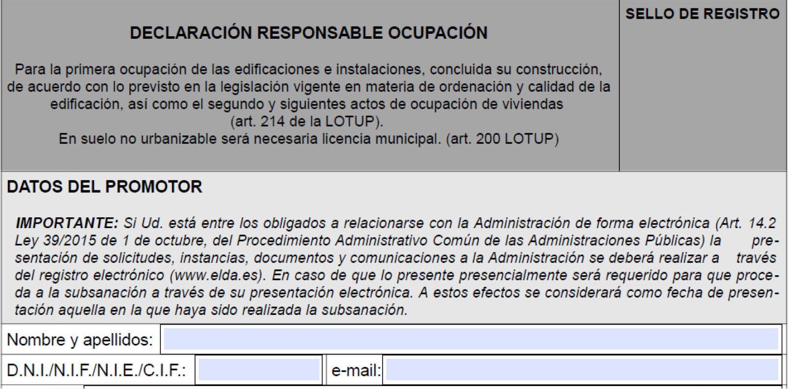 Impreso Declaración Responsable de Segunda Ocupación
