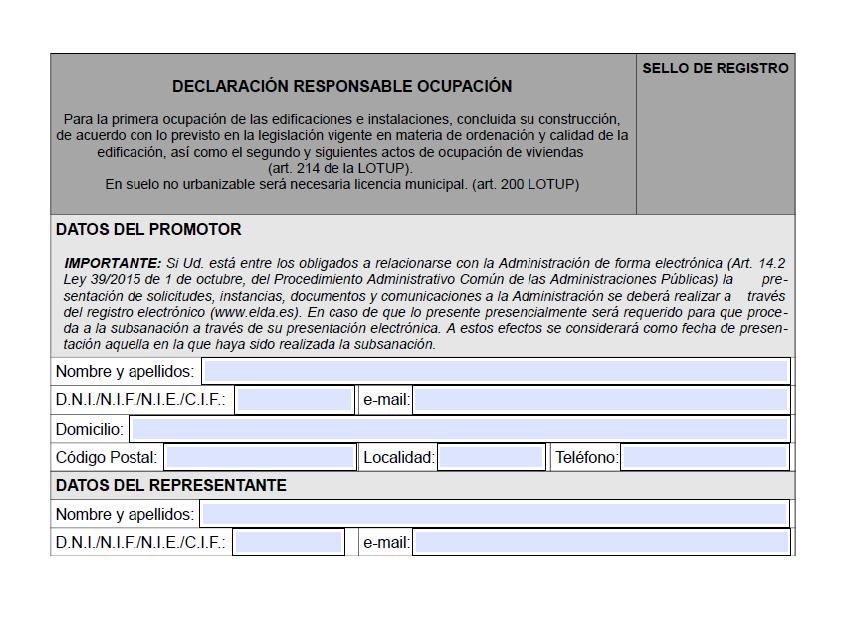 Impreso Declaración Responsable Segunda Ocupación