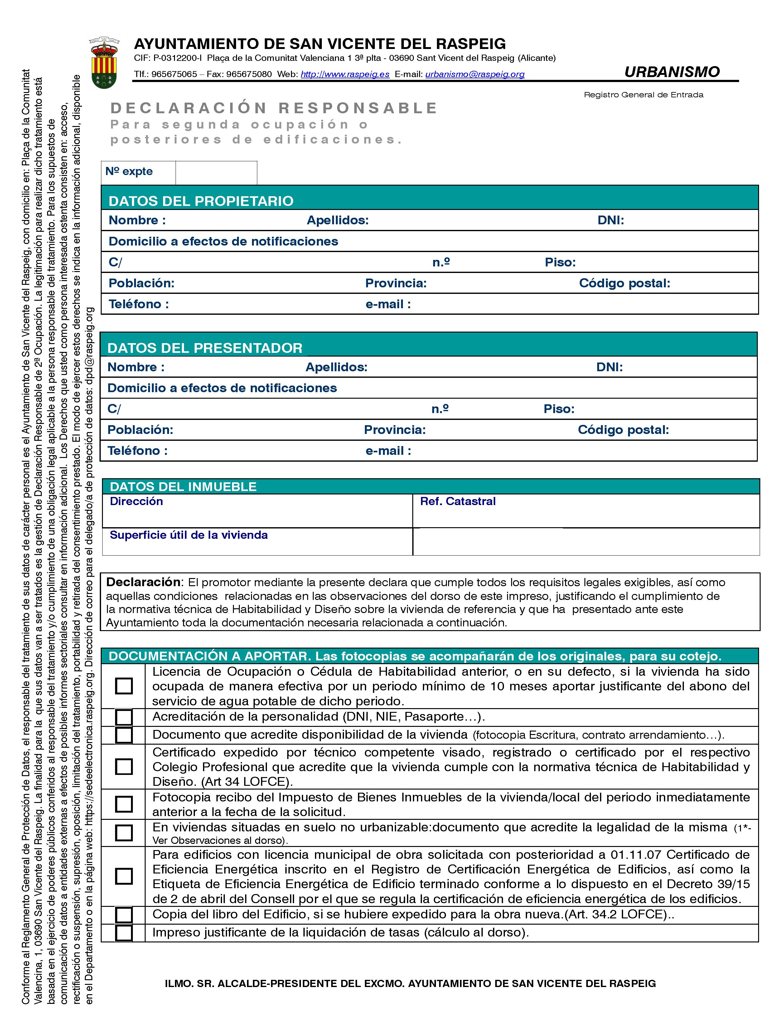 Impreso Declaración Responsable Segunda Ocupación San Vicente del Raspeig - Vivienda