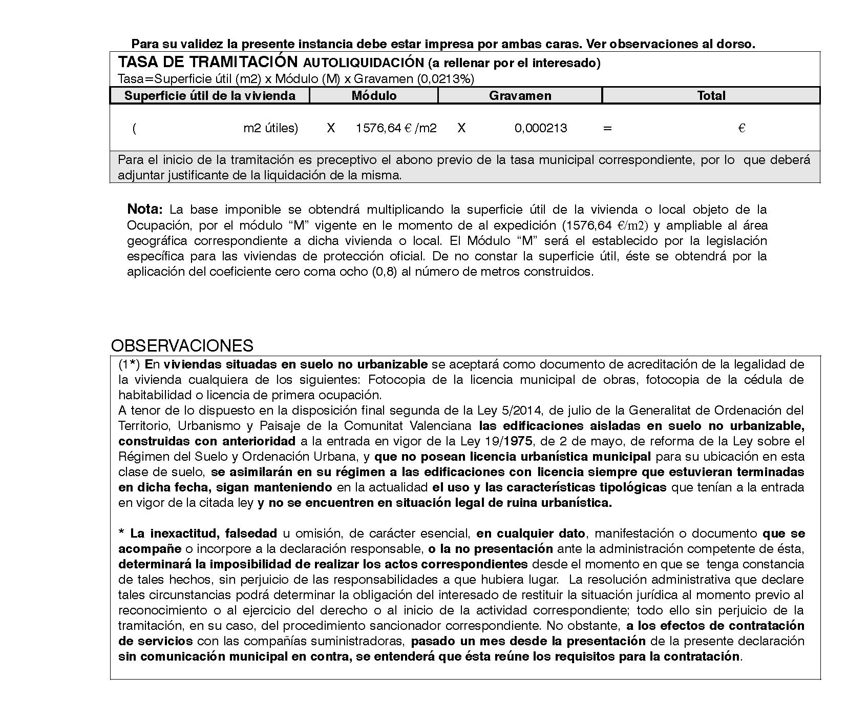 Impreso Declaración Responsable Segunda Ocupación San Vicente del Raspeig