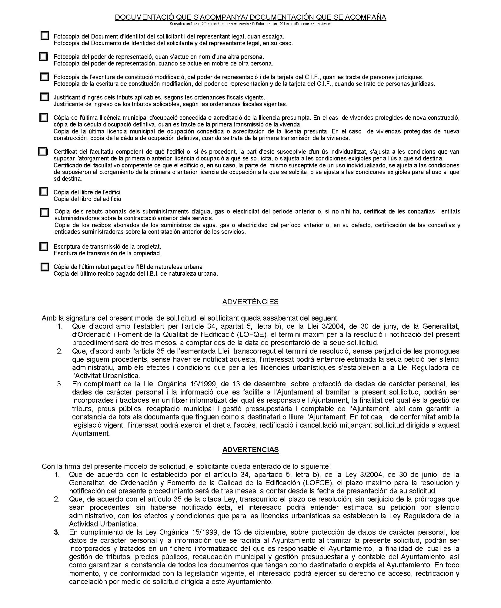 Impreso Declaración Responsable Segunda Ocupación Villajoyosa/La Vila Joiosa